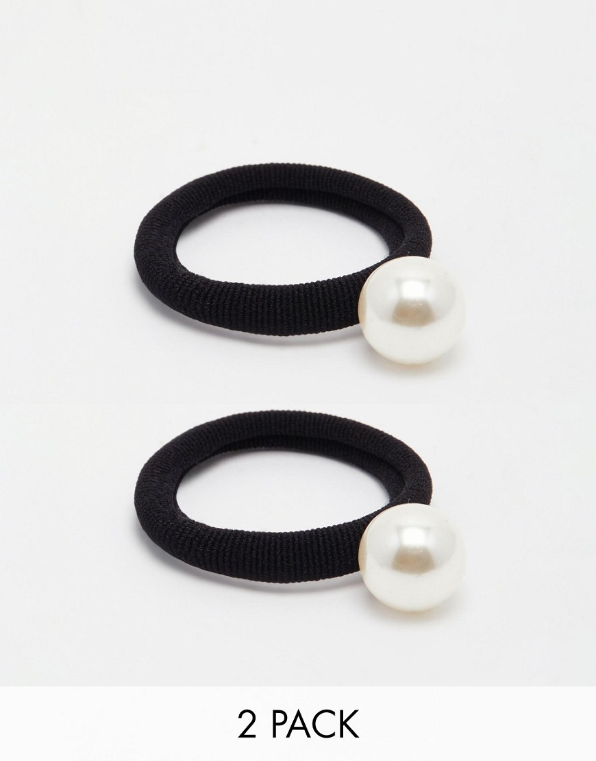 Image 3 of ASOS Pack of 2 Faux Pearl Hair Ties