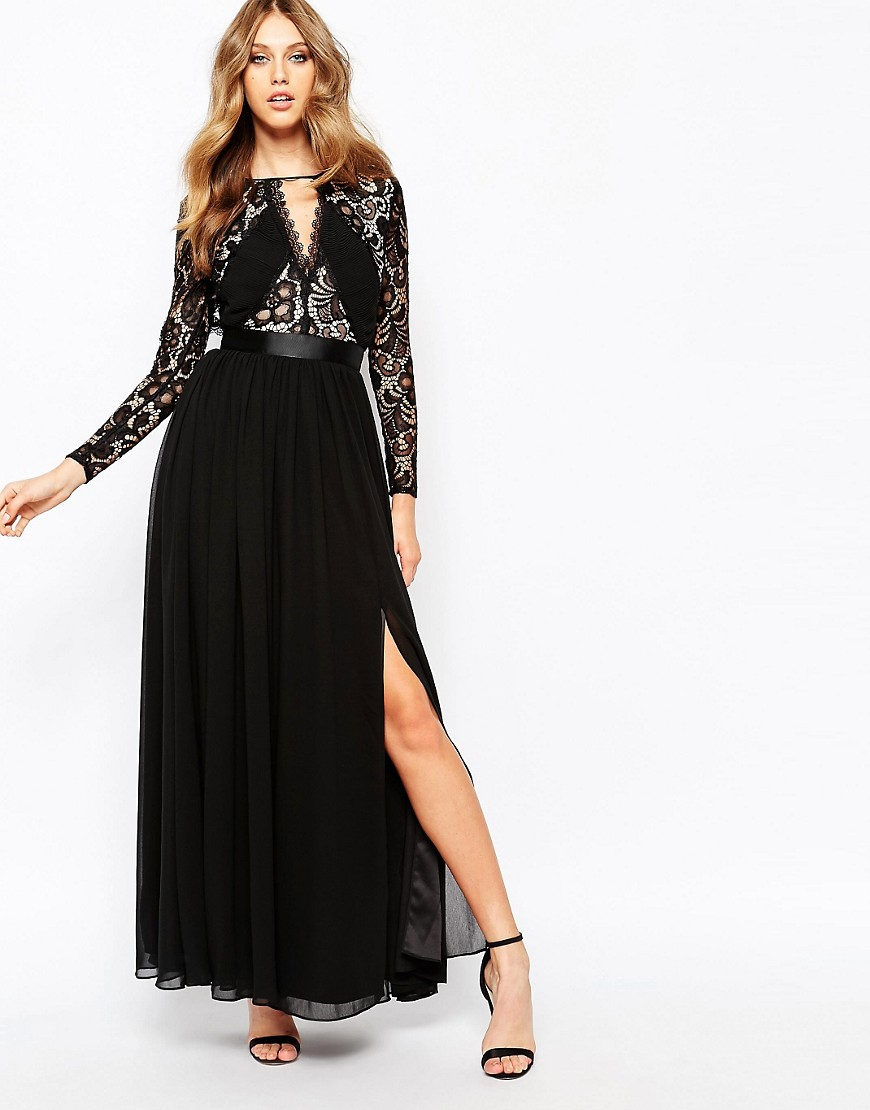 Image 1 of Fame and Partners Geo Heartline Lace Panel Long Sleeve Maxi Dress