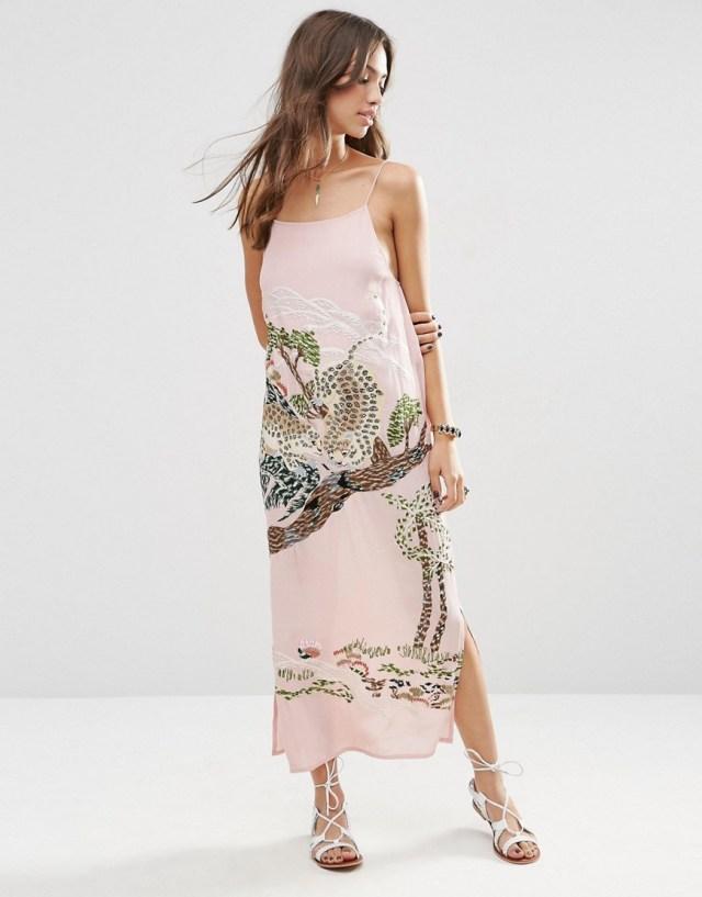 ASOS PREMIUM Ocelot Slip Dress, $68.0