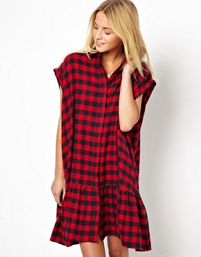 ASOS Extreme Swing Dress In Check