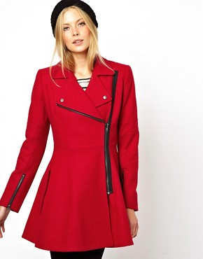 ASOS Skater Coat With Biker Details