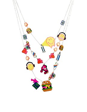 Image 1 of N2 By Les Nereides Smiley Pixel Charm Necklace