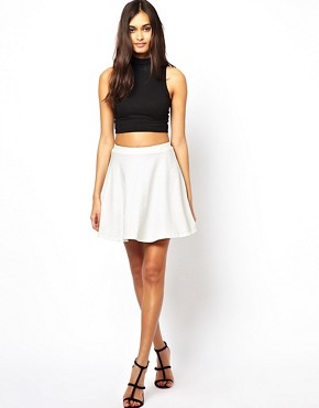 Club L Embossed Leather Look Skater Skirt