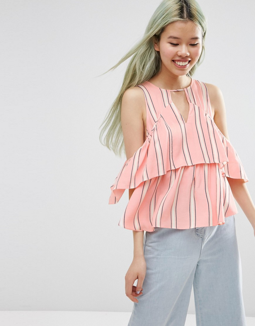 Image 1 of ASOS Tiered Cold Shoulder Top In Stripe
