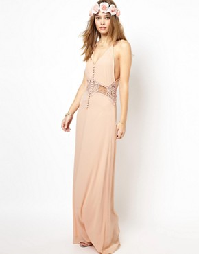 Image 1 of Jarlo Cami Strap Maxi Dress with Lace Insert