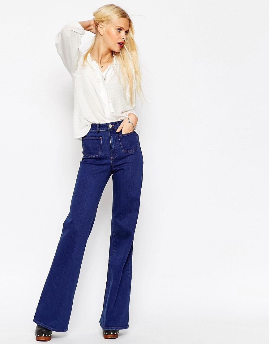 Image 1 of ASOS Flare Jeans With Patch Pockets In True Blue Wash