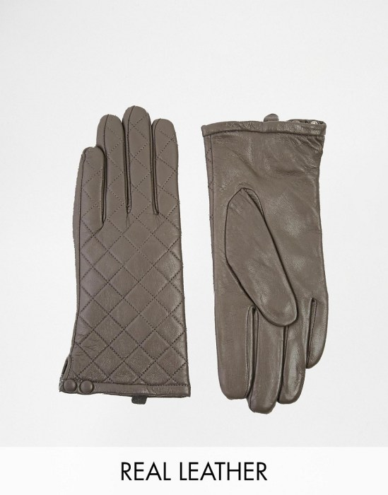 Image 1 of Liquorish Quilted Leather Gloves