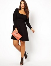 Image 4 of ASOS CURVE Exclusive Skater Dress With Square Neck