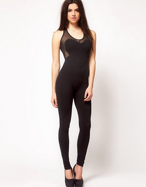 Image 1 of ASOS Unitard with Heart Panels