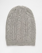 Image 1 of ASOS Cable Slouchy Beanie in Grey with Nep