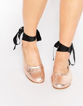 Kurt Geiger Metallic Tie Up Ballerina Flats