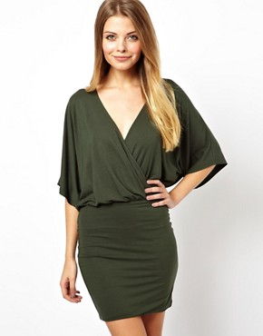 Image 1 of ASOS Mini Dress With Cross Front And Batwing