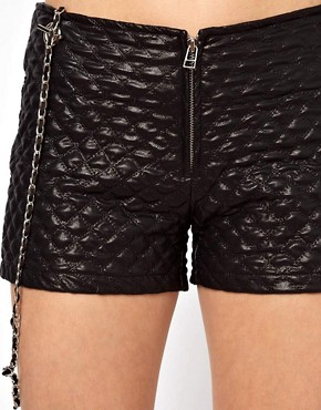 Image 3 of Arrogant Cat London Quilted Shorts with Chain Straps