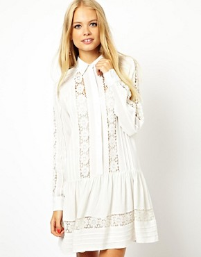 ASOS Swing Dress With Lace Inserts