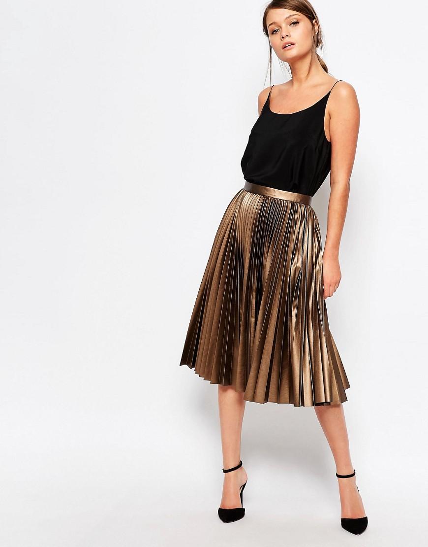 Image 1 ofCloset Pleated Coated Midi Skirt