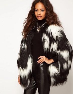 Image 1 ofASOS Oversized Stripe Fur Coat