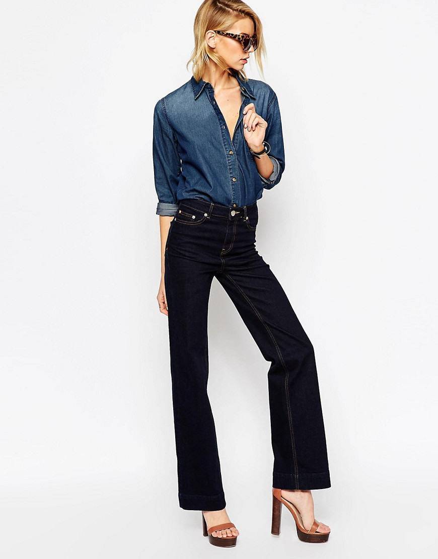 Image 1 of ASOS Bianca Flare Jeans In Indigo With Contrast Stitching