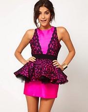 Miss Francesca Couture Lace Peplum Prom Dress
