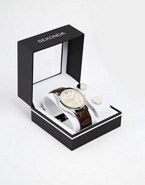 Image 1 of Sekonda Chronograph Watch & Cufflinks Gift Set