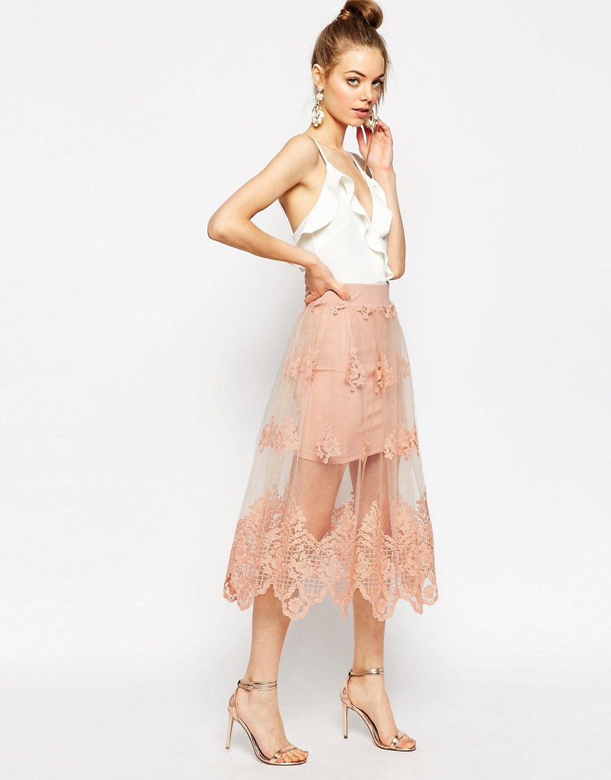 Image 1 of ASOS Prom Skirt in Embroidered Lace Mesh