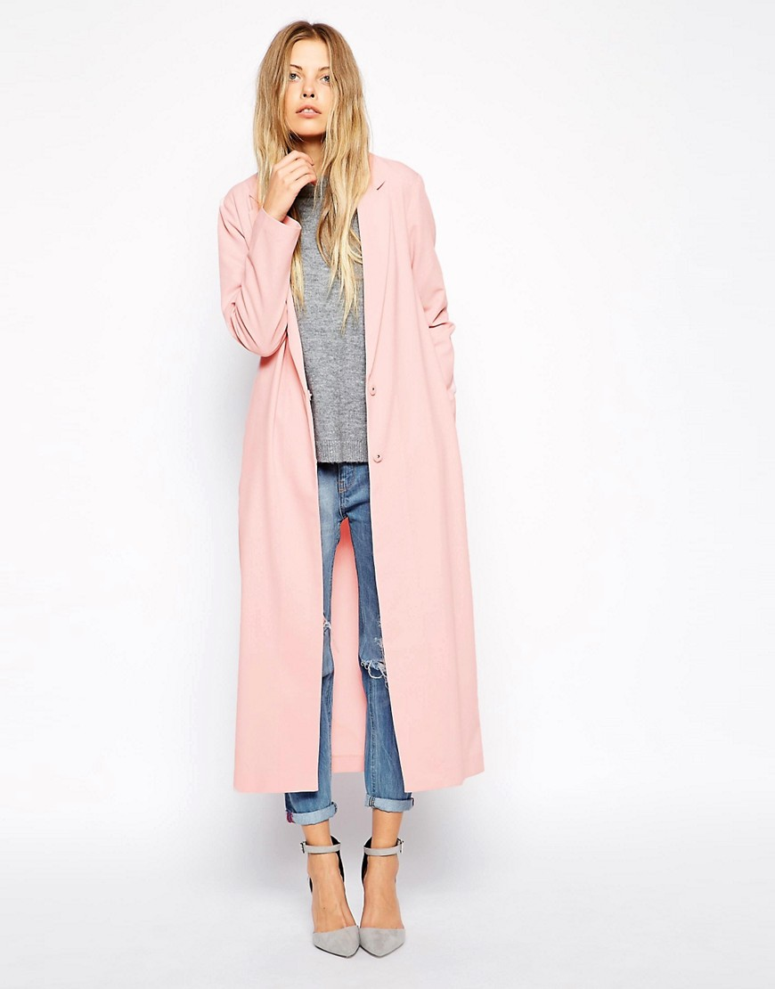 Image 1 of ASOS Crepe Duster Jacket in Maxi Length