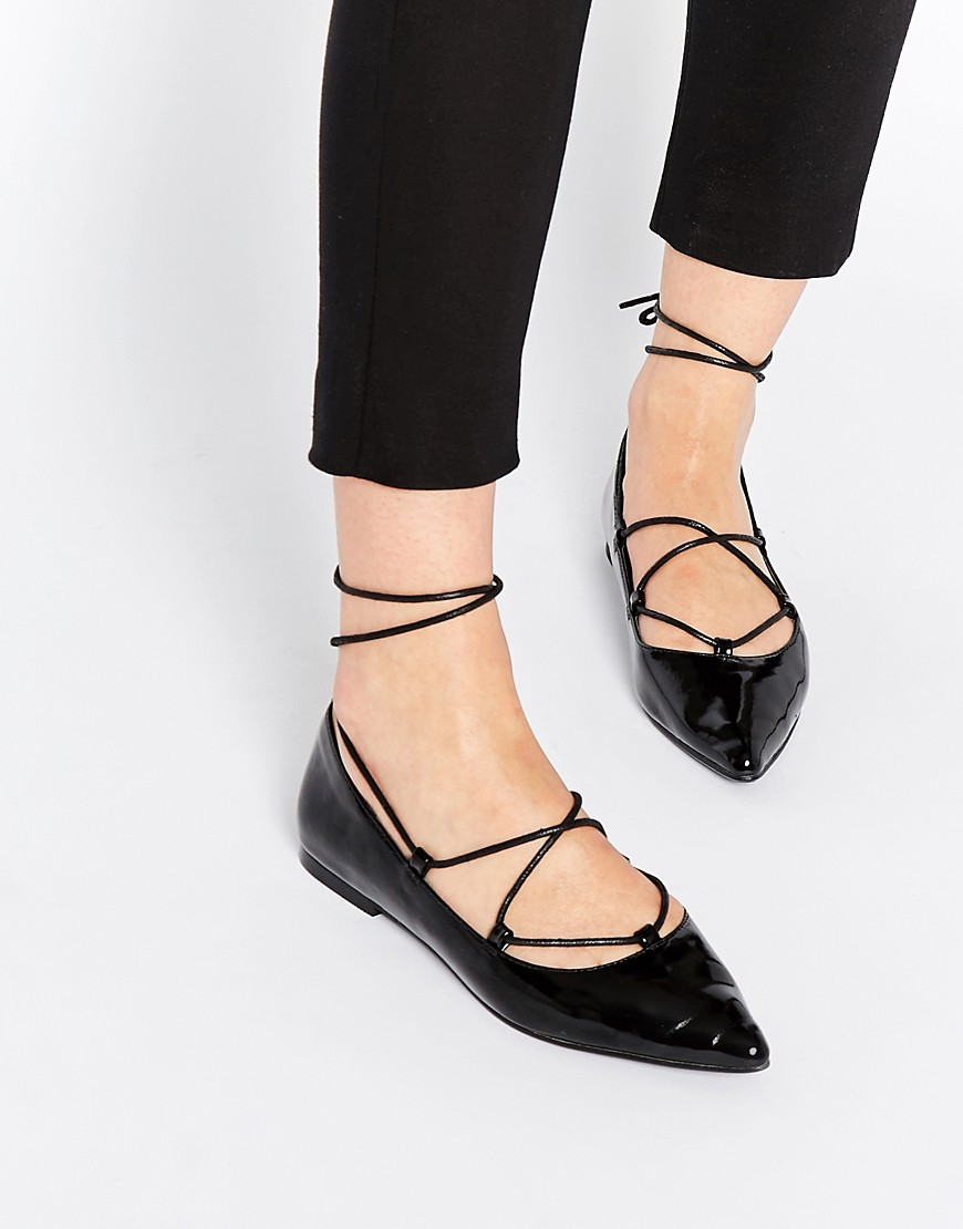 Image 1 of ASOS LYRIC Lace Up Ballet Flats