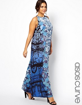 Image 1 ofASOS CURVE Exclusive Maxi Dress In Gothic Gate Print