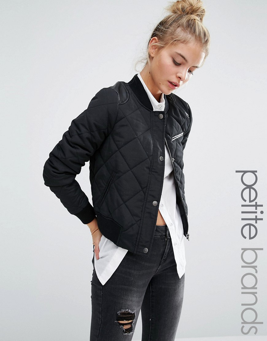 Image 1 ofNoisy May Petite Quilted Bomber Jacket