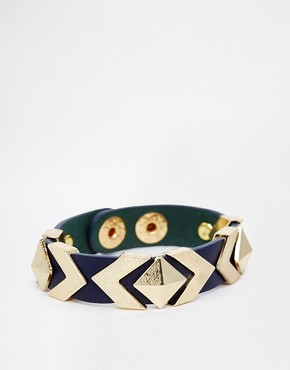 Image 1 of Ashiana Leather Cuff With Pyramid Studs