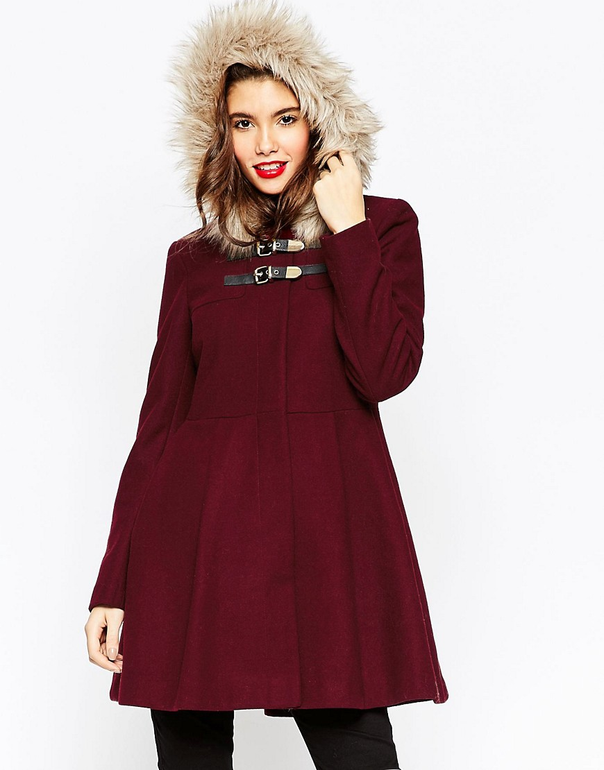 Image 1 of ASOS Skater Coat with Faux Fur Hood