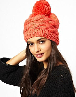 Image 1 of Warehouse Slouchy Knitted Bobble Hat