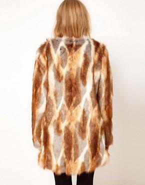 Imagen 2 de Abrigo largo de piel sintética con patchwork natural de ASOS