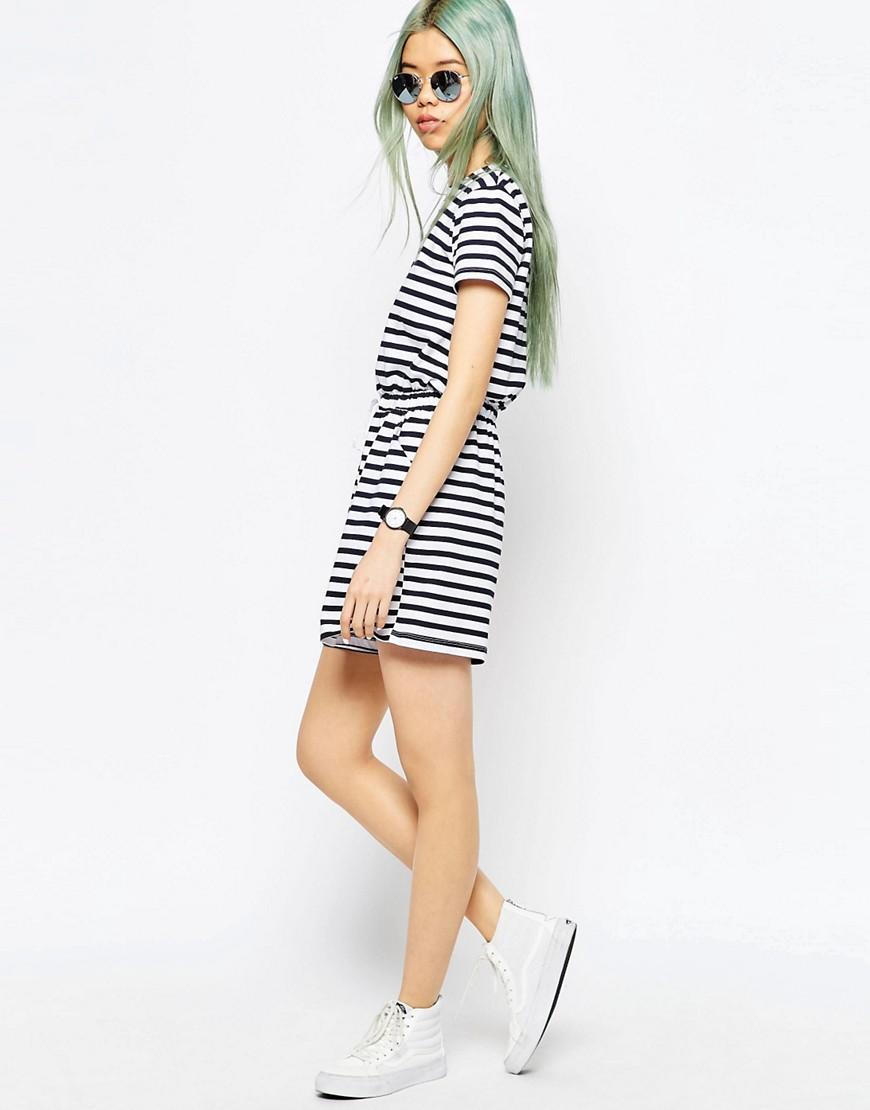 Image 4 ofASOS Stripe Casual Playsuit with Tie