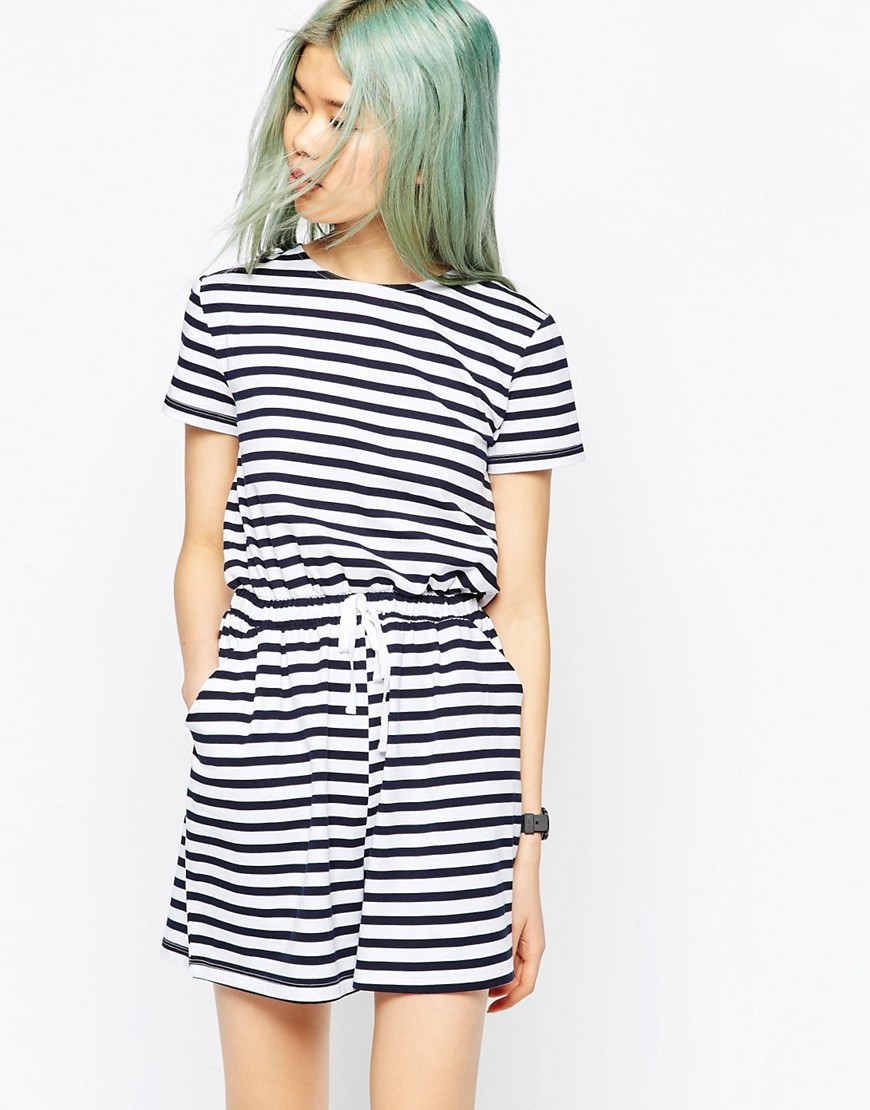 Image 1 of ASOS Stripe Casual Playsuit with Tie