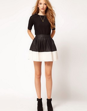 Image 1 of ASOS Skater Skirt in Leather Look