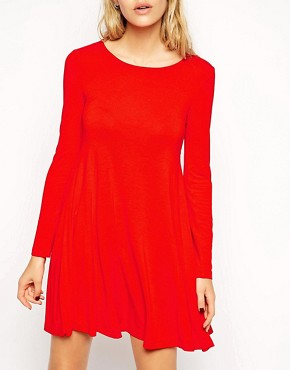 Image 3 ofASOS Seamed Swing Dress with Long Sleeves