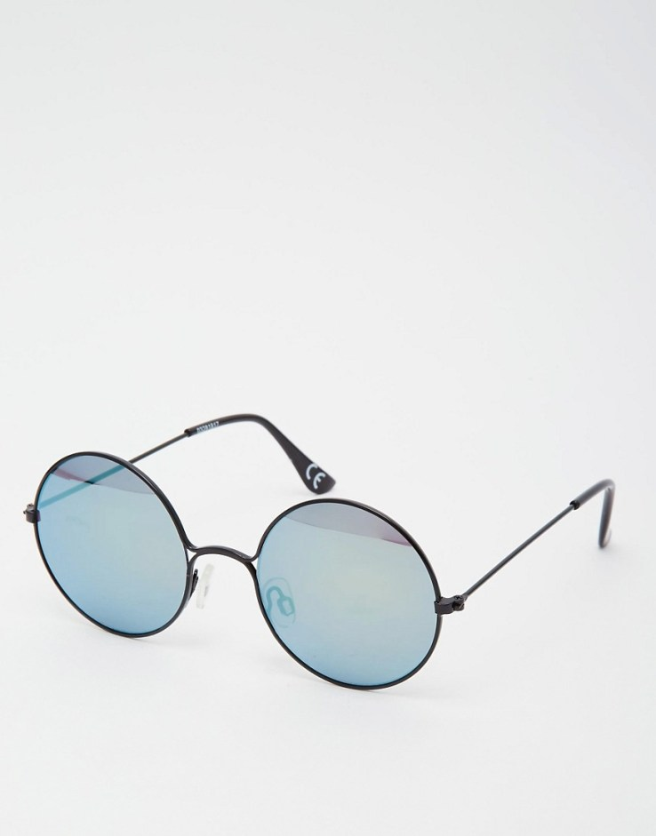ASOS Round Sunglasses With Cut Away Mirror Lens