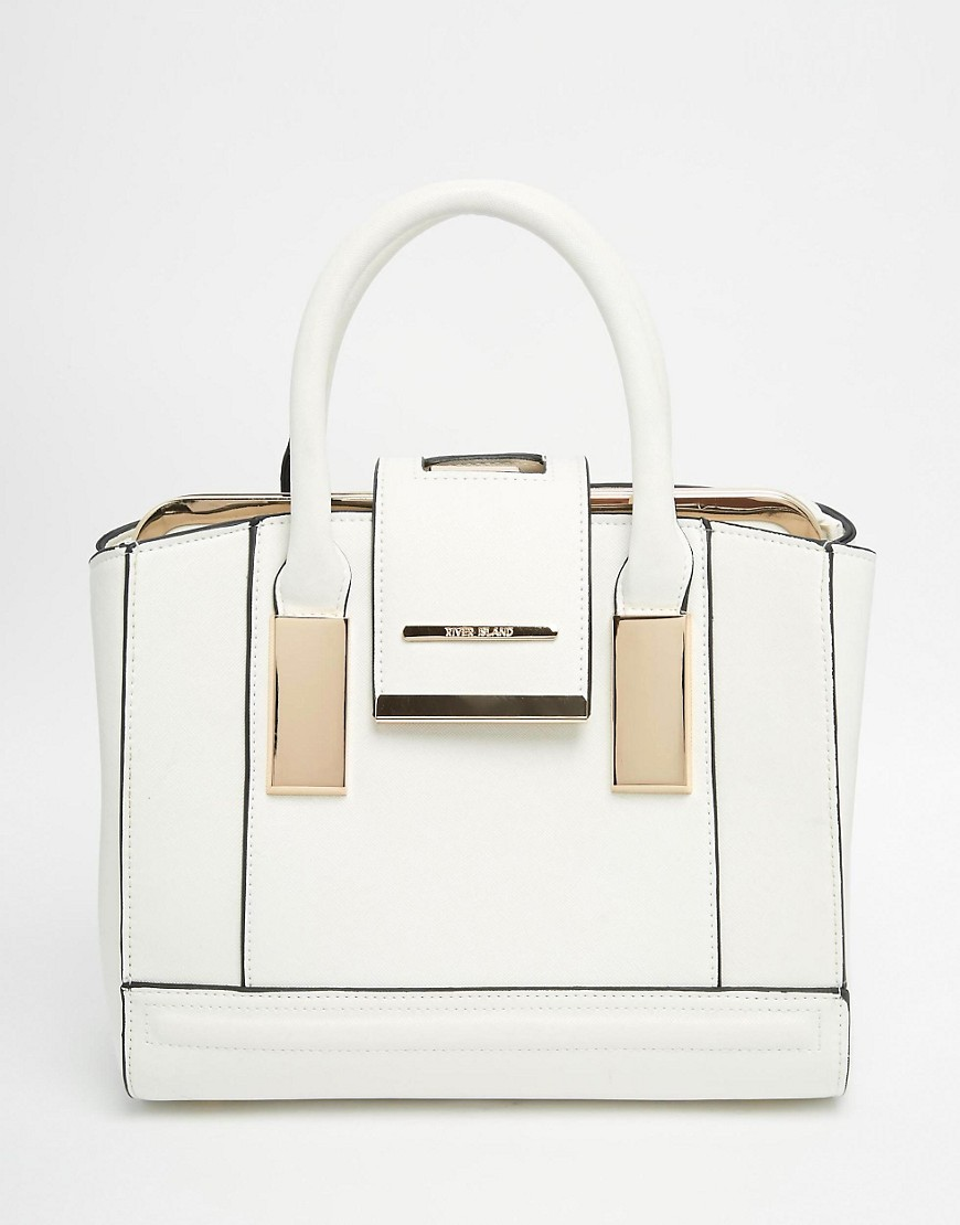 Image 1 of River Island White Mini Frame Bag