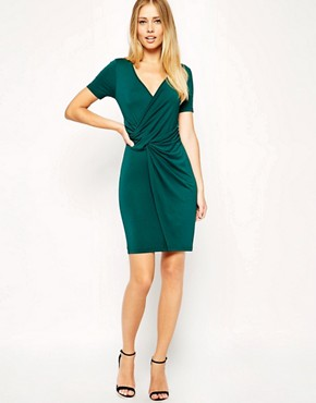 Image 4 of ASOS TALL Wrap Front Bodycon Dress