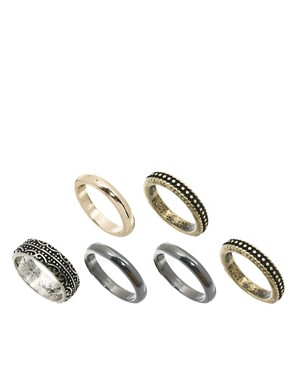 ASOS Mixed Band Midi Ring Pack