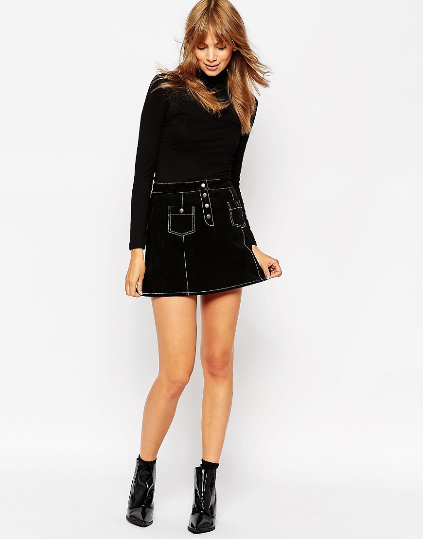 Image 1 ofASOS A-Line Suede Mini Skirt with Contrast Stitch and Button Through