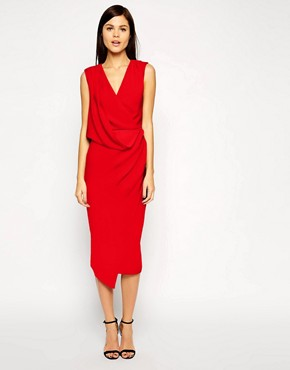 Image 1 of ASOS Wrap Drape Midi Dress