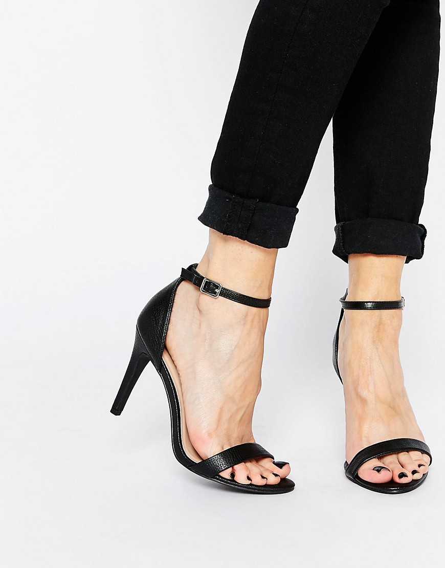Image 1 ofNew Look Sensatory 2 Black Barely There Heeled Sandals