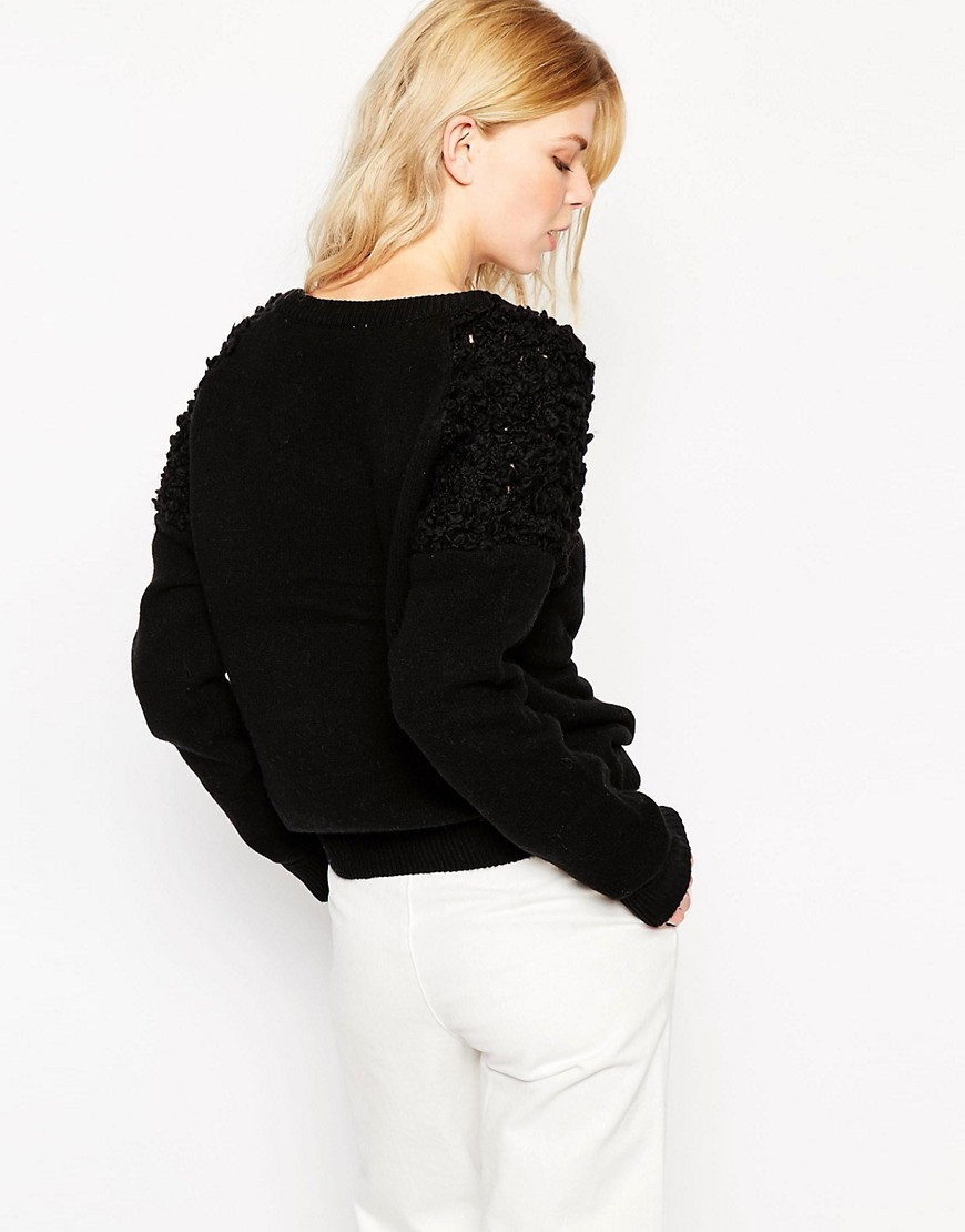 Image 2 of Shae Soft Wool Boucle Shoulder Detail Jumper