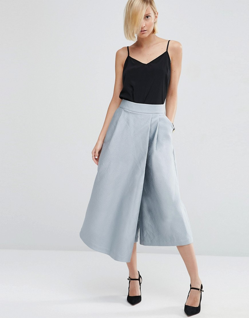 Image 1 of ASOS WHITE Textured Satin Wide Leg Culottes