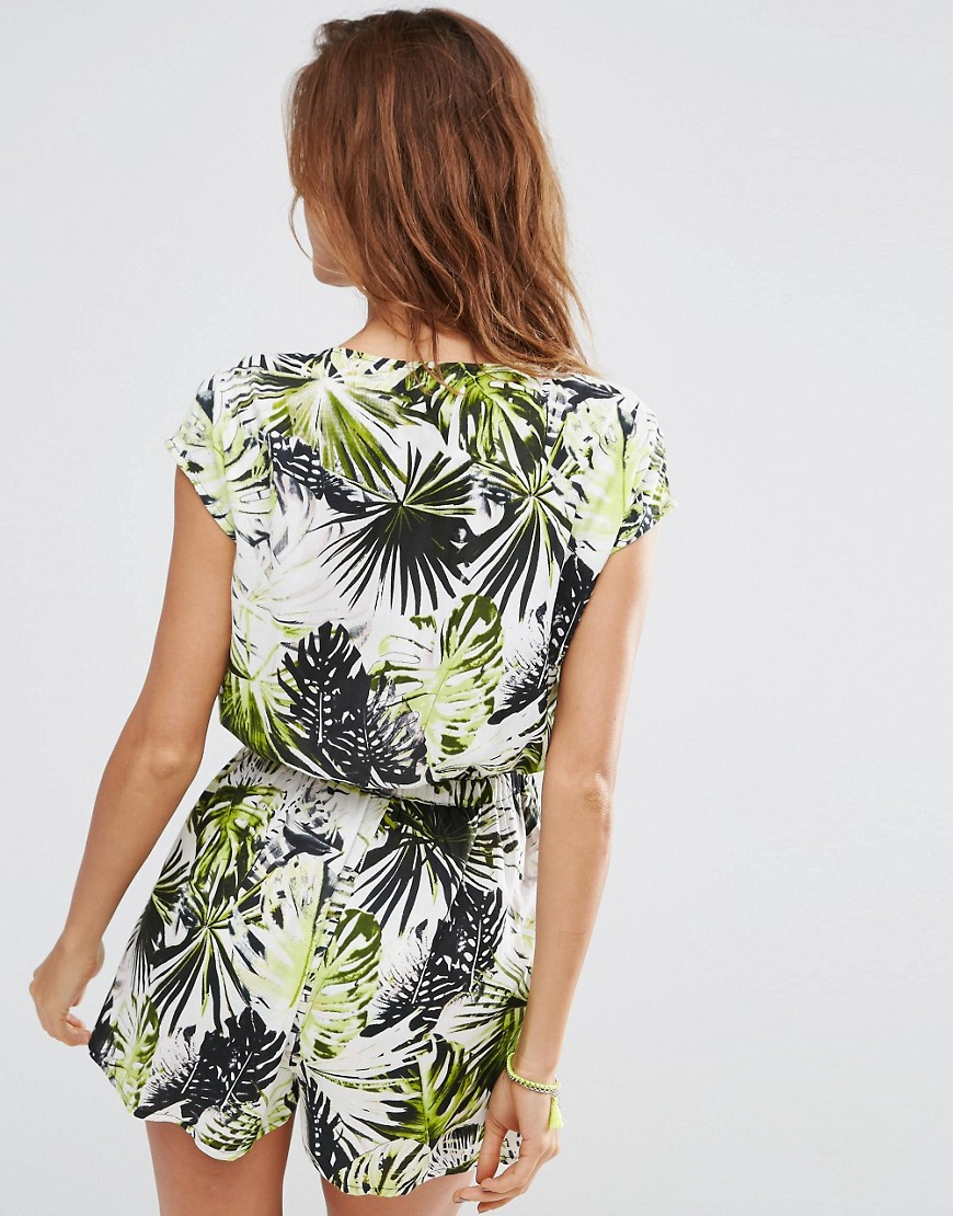 Image 2 of ASOS Tie Front Palm Print Beach Romper