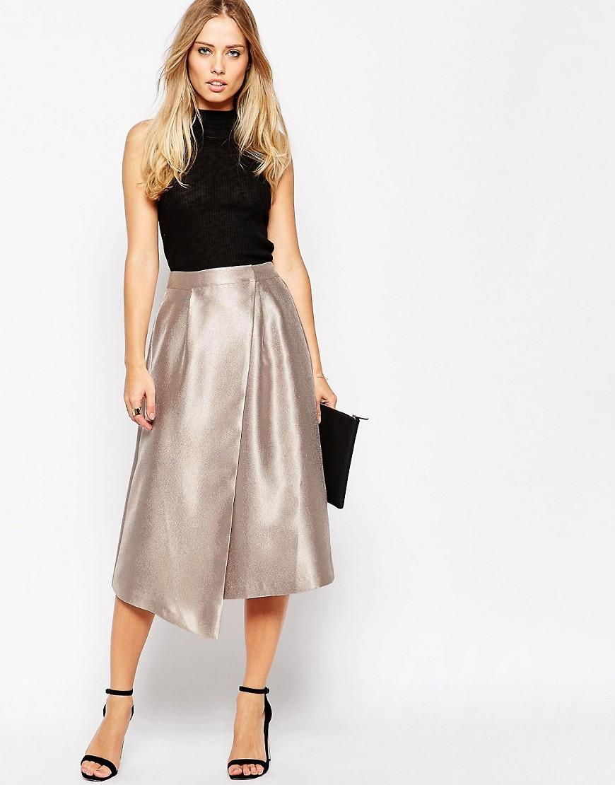 Image 1 ofASOS Midi Skirt with Asymmetric Wrap