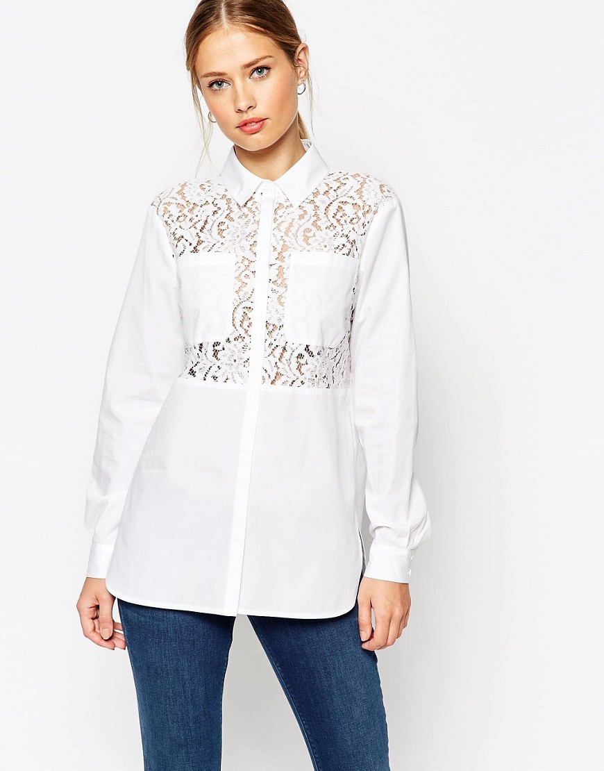Image 1 of ASOS Lace Insert White Long Sleeve Shirt