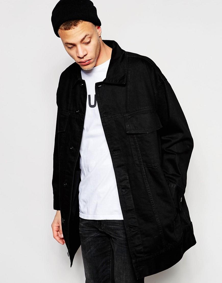Image 1 - ASOS - Veste en jean oversize - Noir