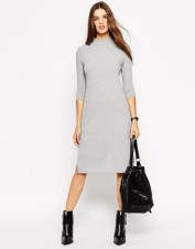 Image 4 ofASOS PETITE High Neck Column Dress in Rib